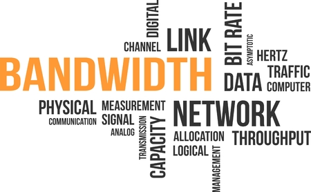 data transmission: A word cloud of bandwidth related items Illustration