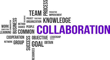 A word cloud of collaboration related items 向量圖像