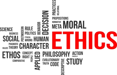 ethos: A word cloud of ethics related items Illustration