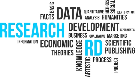 quantitative: A word cloud of research related items Illustration