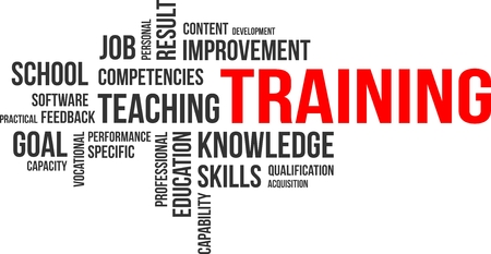 vocational training: A word cloud of training related items Illustration