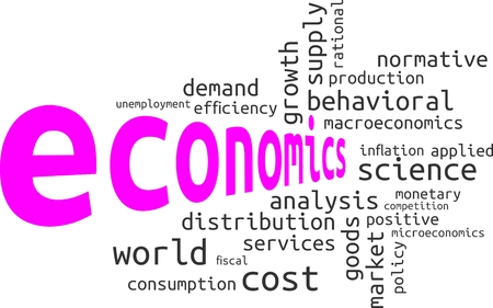 rational: A word cloud of economics related items Illustration