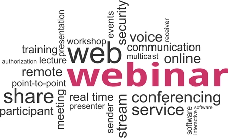 multicast: A word cloud of webinar related items Illustration