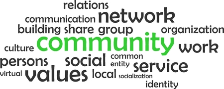 A word cloud of community related items Illustration