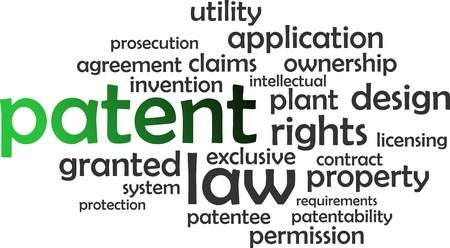 patent: A word cloud of patent related items Illustration