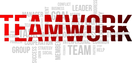 interpersonal: A word cloud of teamwork related items Illustration