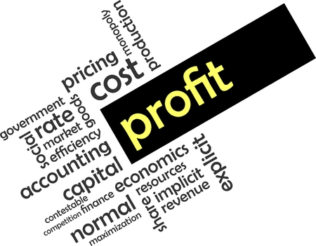 implicit: A word cloud of profit related items Illustration