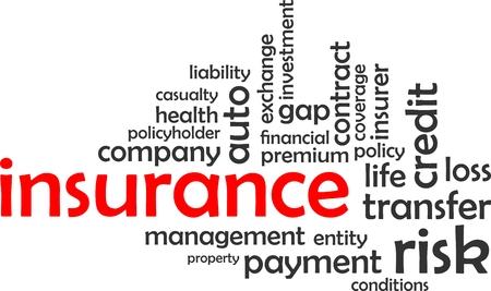 A word cloud of insurance related items Vektoros illusztráció