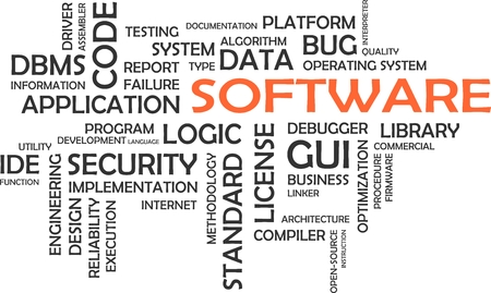 linker: A word cloud of software related items Illustration