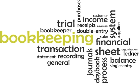 single entry: A word cloud of bookkeeping related items