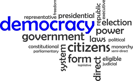 people voting: A word cloud of democracy related items
