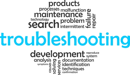 malfunction: A word cloud of troubleshooting related items Illustration