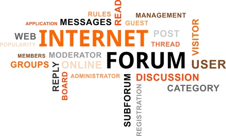 moderator: A word cloud of internet forum related items Illustration