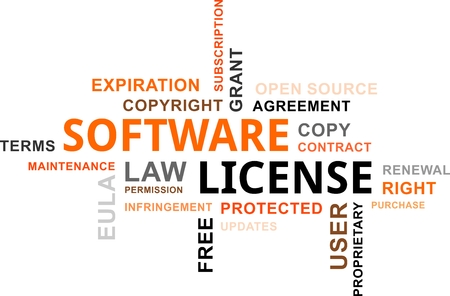 infringement: A word cloud of software license related items Illustration
