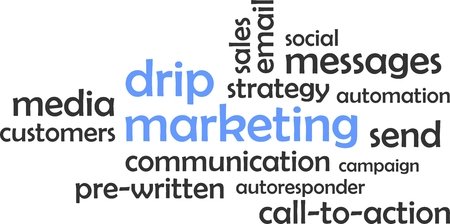 A word cloud of drip marketing related items Vectores