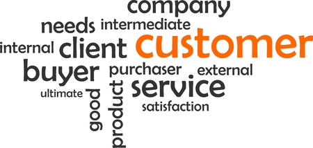 intermediate: A word cloud of customer related items Illustration