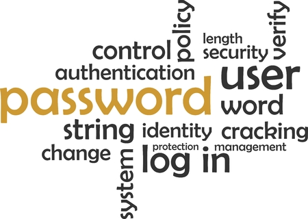 identity protection: A word cloud of password related items Illustration