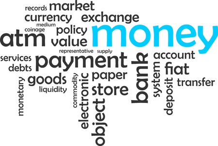 bank records: A word lcoud of money related items