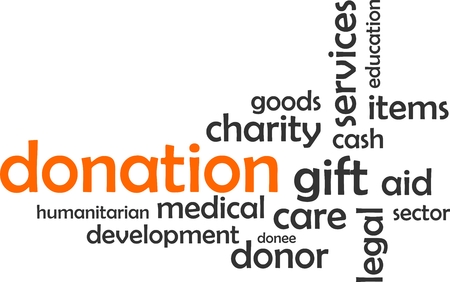 donor: A word cloud of donation related items Illustration