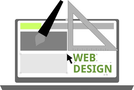 An illustration showing web design tools Vector