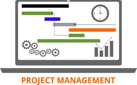 evaluacion: Una ilustración que muestra un concepto de gestión de proyectos Vectores