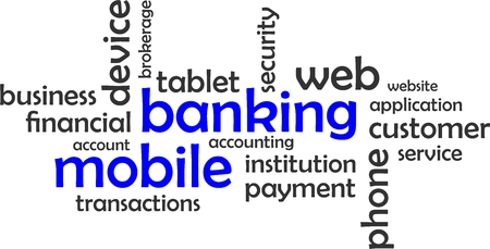 mobile banking: A word cloud of mobile banking related items