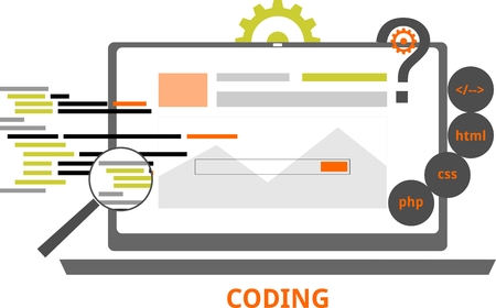 An illustration showing a coding concept Illustration