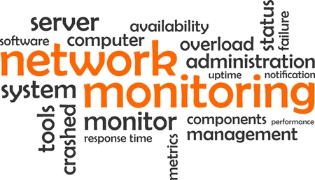 A word cloud of network monitoring related items