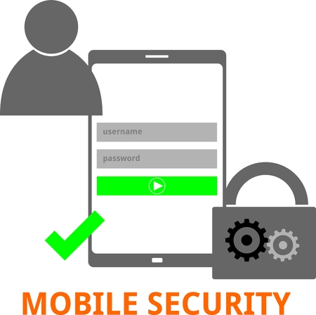 credentials: An illustration showing a mobile security concept