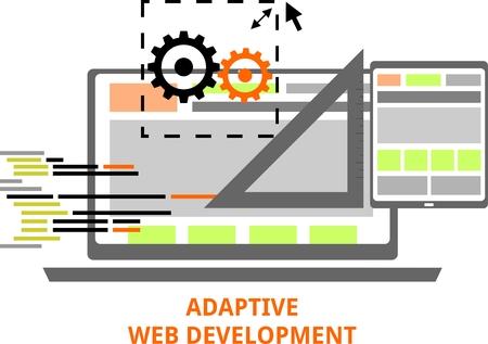 web development: An illustration showing an adaptive web development concept