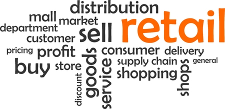 A word cloud of retail related items Illustration