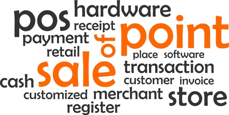 A word cloud of point of sale related items