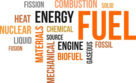 fission: A word cloud of fuel related items Illustration
