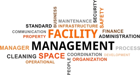 A word cloud of facility management related items Ilustração
