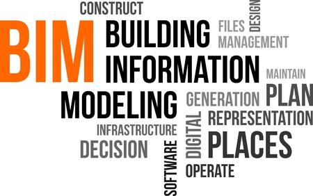 Eine Wortwolke des Building Information Modeling verwandte Artikel Illustration