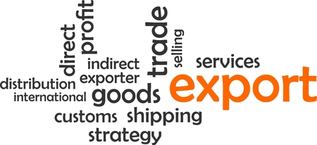 A word cloud of export related items
