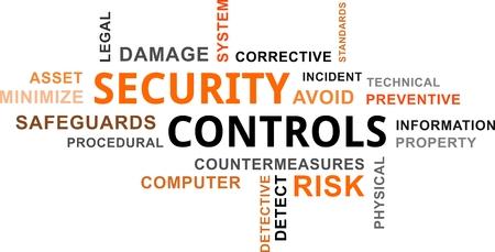 Una parola nuvola di articoli controlli di sicurezza correlati