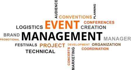 A word cloud of event management related items 일러스트