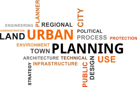 A word cloud of urban planning related items Illustration