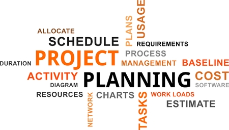 planificacion: Una nube de palabras de elementos de planificación de proyectos relacionados