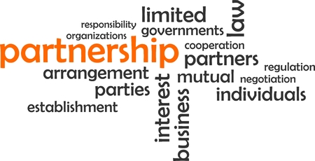 A word cloud of partnership related items
