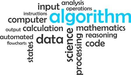 input output: A word cloud of algorithm related items Illustration
