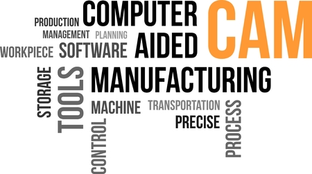 work piece: A word cloud of computer aided manufacturing related items