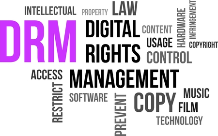 infringement: A word cloud of digital rights management related items Illustration