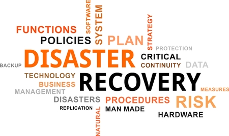 disaster: A word cloud of disaster recovery related items Illustration