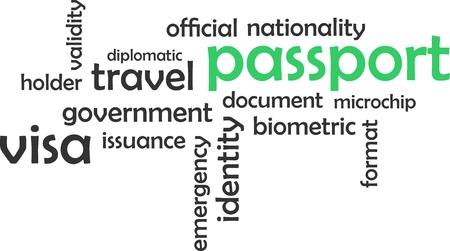 validez: Una nube de palabras de artículos relacionados con pasaporte
