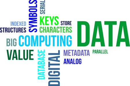 metadata: A word cloud of data related items