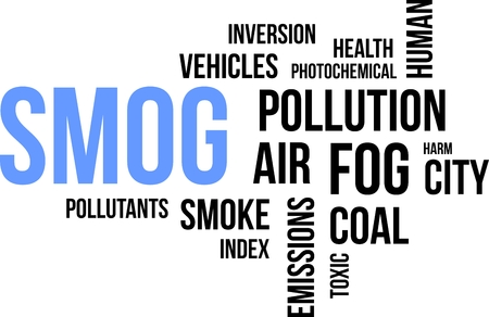 toxic emissions: A word cloud of smog related items Illustration
