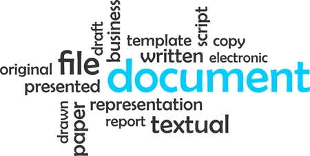 textual: A word cloud of document related items