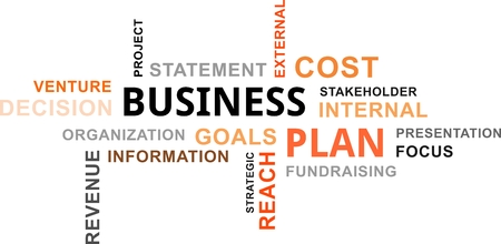 business focus: A word cloud of business plan related items Illustration